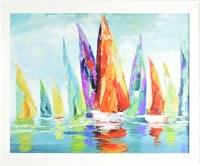 "26"" x 32"" Orange Sailboat in the Center Gel Textured Print in White Frame"