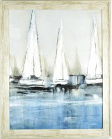 """31"""" x 25"""" 3 White Sailboats Gel Textured Print in Gray Frame"""