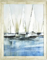 """31"""" x 25"""" 4 White Sailboats Gel Textured Print in Gray Frame"""