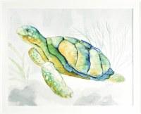 "26"" x 32"" Yellow Shelled Turtle Gel Textured Print White Frame"