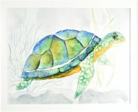 """26"""" x 32"""" Blue Shelled Turtle Gel Textured Print in White Frame"""