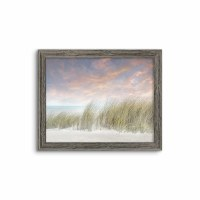 "26"" x 32"" Windy Dunes With Long Grass Gel Coated Giclee Print in Gray Rustic Frame"