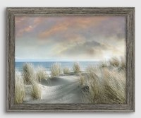 "26"" x 32"" Windy Dunes With Boat Gel Coated Giclee Print in Gray Rustic Frame"