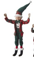 "16"" Green Hat Red Plaid Jacket Posable Elf"