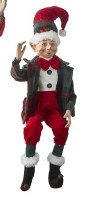 "16"" Red Hat Green Plaid Jacket Posable Elf"