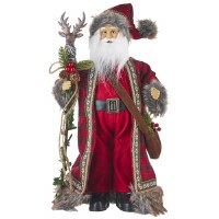 "18"" Red and Gray Santa With Reindeer Staff"