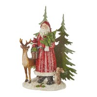 "10"" Santa in the Forest With Deer and Bunny"