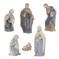 "Set of 6 7"" Blue and Tan Ceramic Nativity Figurines"