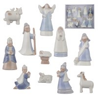 "Set of 11 4"" White and Blue Ceramic Nativity Figurines"