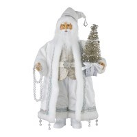 "19"" White and Silver Santa With Clear Beads and Silver Tree"