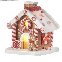 """3"""" LED Gingerbread House With Open Door and Gingerbread Man"""