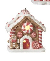 """3"""" LED Gingerbread House With Red Door and Gingerbread Man"""