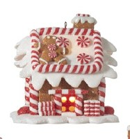"""3"""" LED Gingerbread House With Square Red Door and Man on Roof"""