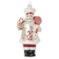 "7"" Peppermint Santa Glass Ornament"