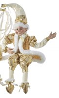 "16"" White and Gold Posable Elf With Jacket Shelf Sitter"