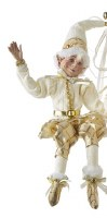 "16"" White and Gold Posable Elf Shelf Sitter"