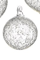 """4"""" Round Clear Iced Glass Ball Ornament"""