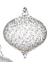 "5"" Clear Iced Glass Onion Ornament"
