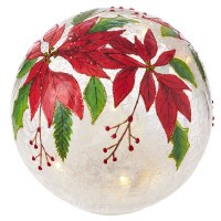 """7"""" Round Red Poinsettia LED Glass Orb"""