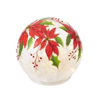 """5"""" Round Red Poinsettia LED Glass Orb"""