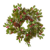 """3"""" Opening Faux Red Berry and Pinecone Candle Ring"""