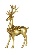 """13"""" Gold Leaf Deer With Ribbon and Bell Wreath"""