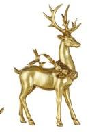 "13"" Gold Leaf Deer With Trailing Ribbon Wreath"