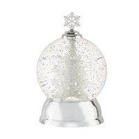 """8"""" LED Spinning Silver Tree Snow Globe"""