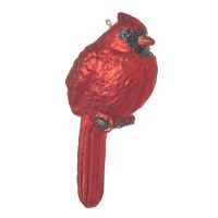 """6"""" Red Glass Cardinal on Branch Ornament"""