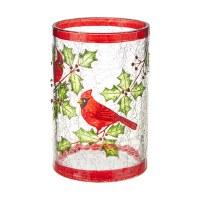 """6"""" Red Rimmed Crackle Glass Cardinal Cylinder Vase"""