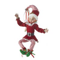 "16"" Red and White Striped Posable Elf With Green Shoes"