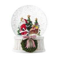 """6"""" Santa With Teddy Bear and Sleigh Musical Snow Globe"""
