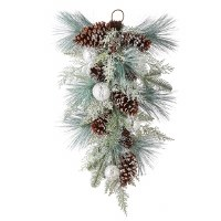 "28"" Faux Iced Pinecone and Ornaments Mixed Teardrop Swag"