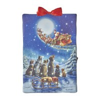 """6"""" Santa Waving to Dogs LED Lighted Canvas Print Ornament"""