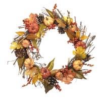 "16"" Round Faux Orange and Yellow Pumpkin Leaf Wreath"