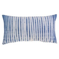 """24"""" White and Blue Tie Dyed Lumbar Pillow"""