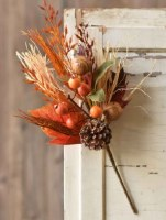 """18"""" Faux Orange Leaves, Pinecones, and Walnuts Autumn View Spray"""