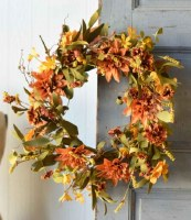 """22"""" Round Faux Orange and Yellow Brilliant Blooms Wreath"""