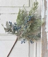 "16"" Faux Blue Berries and Cedar Spray"