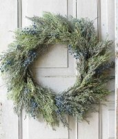 "24"" Round Faux Blue Berries and Cedar Wreath"