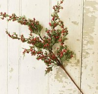 "18"" Faux Red Berry Cedar Spray"