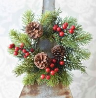 """3"""" Opening Faux Red Berry and Pinecone Spruce Candle Ring"""