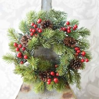 """6"""" Opening Faux Red Berry and Pinecone Spruce Candle Ring"""