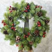 """20"""" Round Faux Red Berry and Pinecone Spruce Wreath"""