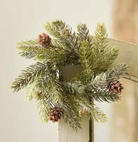 """2"""" Opening Faux Frosted White Spruce and Pinecone Candle Ring"""
