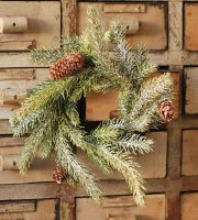 """3.5"""" Opening Faux Frosted White Spruce and Pinecone Candle Ring"""
