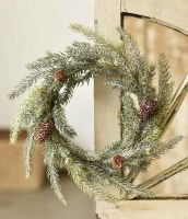 """6.5"""" Opening Faux Frosted White Spruce and Pinecone Candle Ring"""