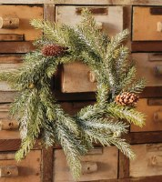 """4.5"""" Opening Faux Frosted White Spruce and Pinecone Candle Ring"""