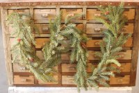 6' Faux Frosted White Spruce and Pinecone Garland