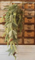 """34"""" Faux Frosted White Spruce and Pinecone Drop"""